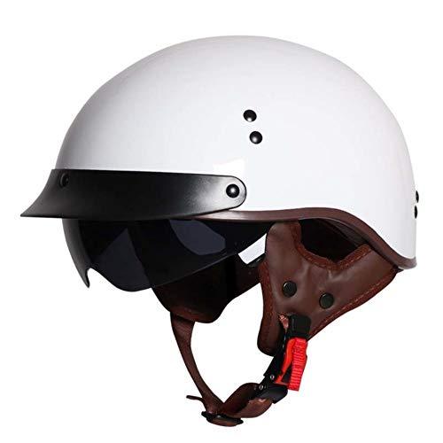 ZYLHC Halbe Abdeckung Motorradhelm, Einziehbare Sonnenbrille Lokomotive Helm Roller Helm Männer Und Frauen Elektrische Helm Einfach Stilvolle Sommer-a M(54-56cm) (Roller Sonnenbrille)