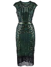c082346d5d20 Watopi Robes Vintage années 20 rétro 2019 Pailletée Frange Manches Courtes  pour Femme Col V 1920s inspirée