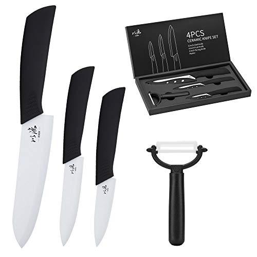 icxox Cuchillos de Cocina de Cerámica, 4 Piezas (3 x Cuchillos de Cer