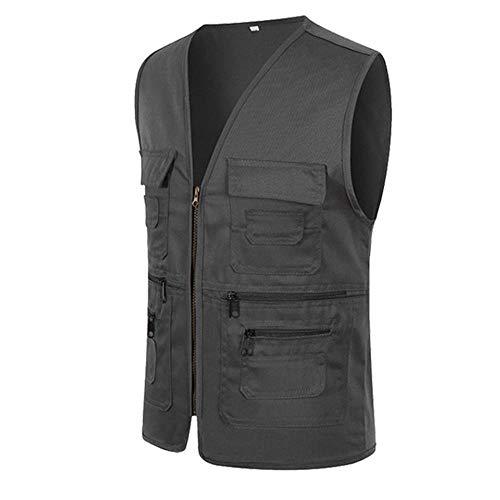 UJUNAOR Männer Ärmellose Cargo Jacke Multi-Pocket-Jackenmantel für Herren(Dunkelgrau,CN XL) (Schuhe Jungs Skechers Sportliche)