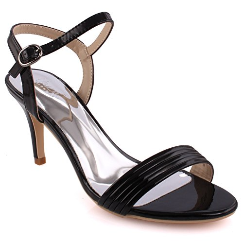 Unze Frauen 'Mischka' gegurtet Mid Low High Heel Party Prom zusammen Karneval Abend Sandalen Schuhe UK Größe 3-8 - 8T8555-819 Schwarz