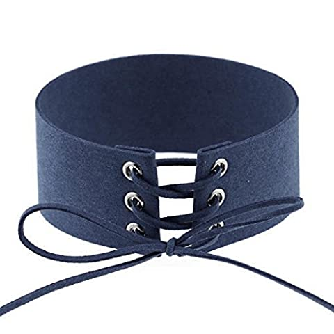 Daesar Womens Choker Necklace Deep Blue Cashmere Band Collar String Choker Punk Width 4CM