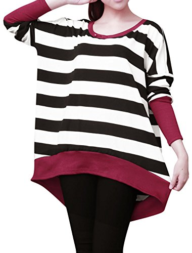 Small / US 6 , Black,white : Allegra K Women Boat Neck Batwing Tops Stripe Oversize T Shirts