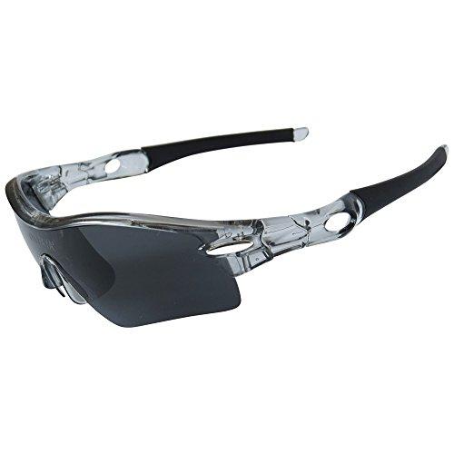ONVAYA Polarisierte UV400 Sportsonnenbrille mit 5 13 Teilig Sportbrille Radbrille Sonnenbrille mit 5 Wechselgläsern, Grau, One Size - 5
