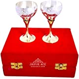 Jaipur Ace Attractive Design Silver And Gold Plated Brass Wine Glass Set