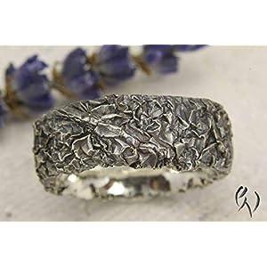 Breiter Ring aus geschwärztem Silber 925/-, Zerknittert, 8 mm