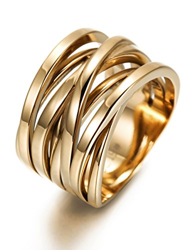 Wistic jewelry Damen Ring Edelstahl vergoldet (14 Karat (585) Gelbgold, 60 (19.1))