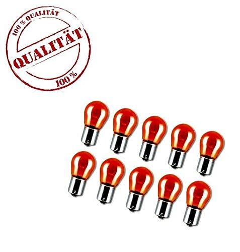 10x PY21W 12V 21W BAU15S Lampen Blinker Blinkleuchten Orange Amber Glas 10 Stück