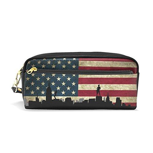 jstel I Love New York American Flagge Schule Bleistift Tasche für Kid Jungen Kinder Teens Stifthalter Kosmetik Make-up-Tasche Frauen Haltbare Stationery Pouch Bag großes Fassungsvermögen -
