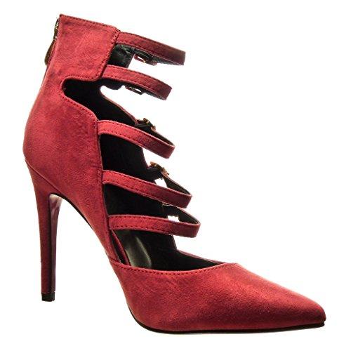 Angkorly - damen Schuhe Pumpe - Stiletto - Sexy - Multi-Zaum - Schleife - metallisch Stiletto high heel 10.5 CM Burgunderrot