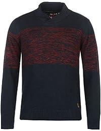 Lee Cooper col châle Pull tricoté pour homme Indigo Sweat Top