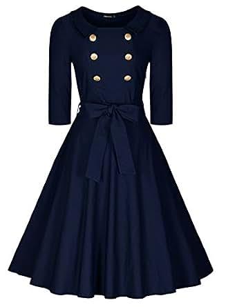 Miusol® -  Vestito  - Sera  - Maniche corte  - Donna Blue (Taglia produttore: XXXL)