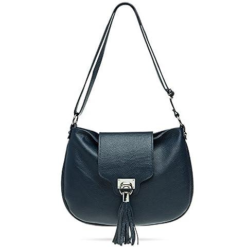CASPAR TL768 Grand sac à main en véritable CUIR italien pour femme - Sac messager avec longue bandoulière, Couleur:bleu foncé;Taille:One Size