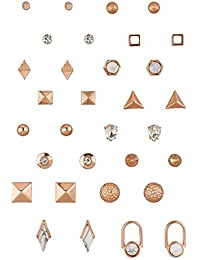 """SIX """"Trend"""" Ohrstecker, Damen Ohrring, Ohrhänger Set, earrings aus roségold in geometrischen Formen und Naturstein Optik Weihnachtsgeschenk (702-231)"""