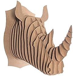 Escultura Para Pared Cabeza Animal Rinoceronte de Cartón, Puzzle 3D DIY Decoración Colgante