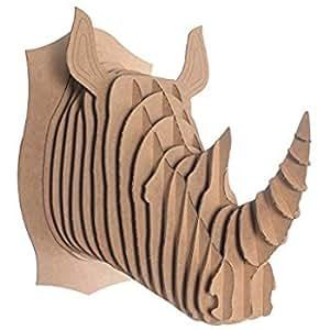 Puzzle testa Animal rinoceronte 3d di cartone, Scultura per decorazione da parete, Marrone, 25x 25.