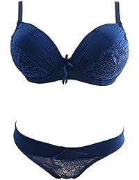 Lingerie: Ensemble bleu marine soutien gorge et culotte Bonnet D