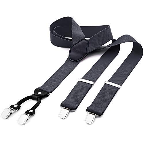 DonDon® Herren Hosenträger breit 4 Clips mit Leder in Y-Form - Grau - Braun Nadelstreifen-herren-anzug