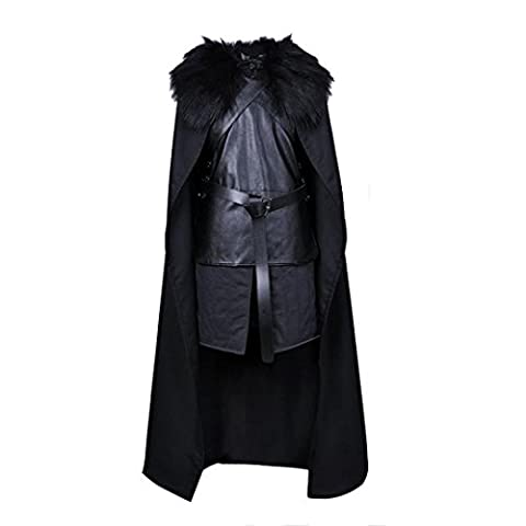 FNKDOR Men GoT Jon Snow Cosplay Costume Halloween Party Set (XXL, Noir)