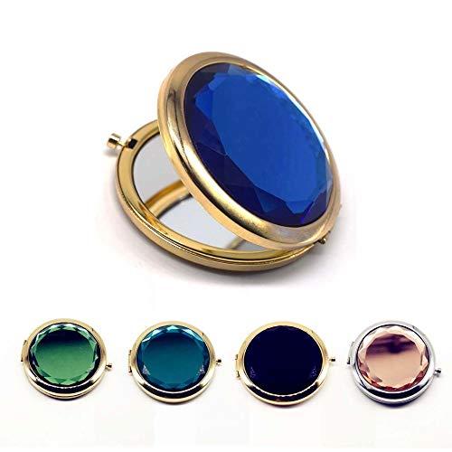 Frauen-nette Perlen-Kosmetikspiegel-reizende kleine Schaf-Taschen-Kristalltragbare doppelte Doppel-Seiten-kompakte Spiegel Schminkspiegel (Color : Gold orange) -
