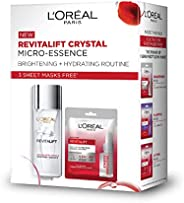 L'Oreal Paris Crystal Micro-Essence 65ml and 3 Revitalift Essence Sheet Masks Free, 155 g (Pack o