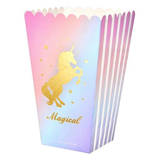 LUCK COLLECTION Magische Einhorn Party Favor Lieferungen Popcorn Treat Boxen für Einhorn Geburtstag Party Dekorationen 12 Pack