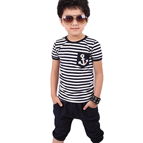 Koly Kids Boys Clothing Sets Children Navy Striped Suits 2PCS Kids Set T shirt + Pants