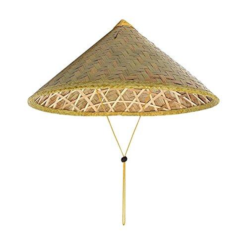 Queenbox Asiatischer Chinesischer Bambusspitzhut mit Kinnriemen Bambus Sonnenhut Farmer Kostüm ()