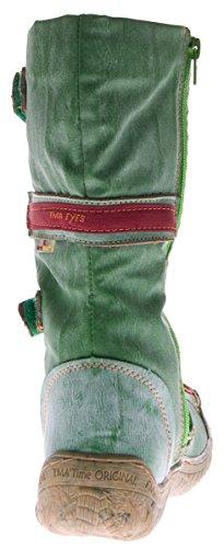 Stivali invernali da donna, in pelle, TMA 14411, imbottiti Verde