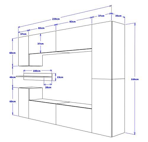 FUTURE 13 Moderne Wohnwand, Exklusive Mediamöbel, TV-Schrank, Neue Garnitur, Große Farbauswahl (RGB LED-Beleuchtung Verfügbar) (Schwarz MAT base / Schwarz MAT front, Weiß LED) - 4