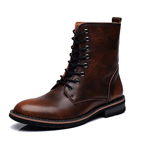 Herren Outdoor Martin Boot Trekking Wandern Lange Lederstiefel Leder Classic Riding High Tops Stiefel Military Army Combat Lace-Up Schuhe, Brown-40 Lace Up Riding Boots