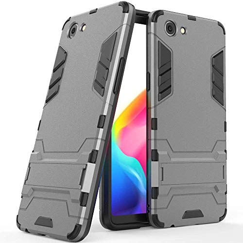 MaiJin Hülle für RealMe 1 / Oppo F7 Youth / A73S (6 Zoll) 2 in 1 Hybrid Dual Layer Shell Armor Schutzhülle mit Standfunktion Case (Grau)