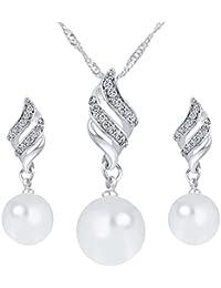 Elegant Silver /& White Pearl Drop Jewellery Set Stud Earrings /& Necklace S377