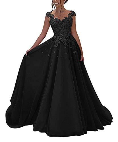 NUOJIA Damen Prinzessin Ballkleider Lange mit Appliques Party Kleid Schwarz 48