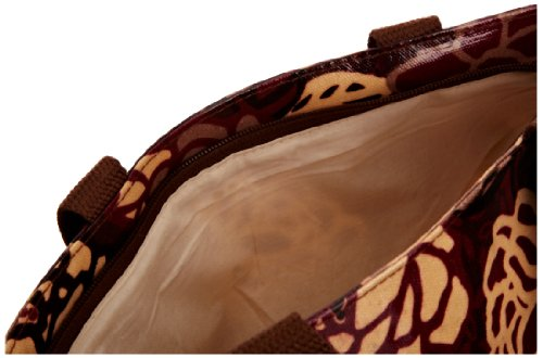 Re-uz Small Oilcloth Tote Brown Roses, Damen Tote Brown/Maroon