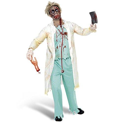 Horror Kostüm Doktor - Zombie Doktor Kostüm Herren 3 teilig Horror OP Arzt Anzug Set für Halloween Karneval Mottoparty grün weiß - L
