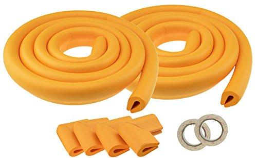 Baby-proofing Kit (FiveSeasonStuff® 2 Stücke Prämie-Schaum-Kissen Kantenschutz (Kantenschützer) + 4 Eckenschützer (Schutzecken) für Baby-Proofing Kind Proofing / enthält 4 Meter Schutz Rund um den Tisch oder Möbel (2 Stücke Doppelseitig Orange U-Form Kantenschutz (2 Meter Jeder) + 4 U Eckenschützer (Dicke: 5-8mm) LM216))