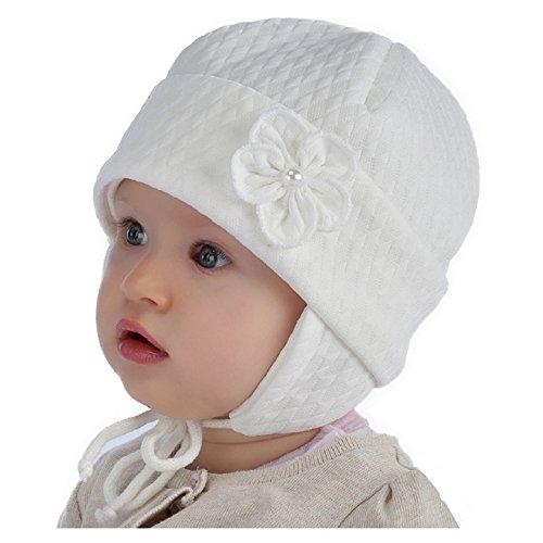 Baby Taufe Mütze Mädchen Elfenbein / Creme Gr: 38 40 42 44 46 (42) (Hut Elfenbein Set)