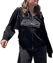 Womens Hoodies Zip Up Cotton Oversized Sweatshirt Y2K E-Girl Letters Print hoodie Coat Long Sleeve Streetwear