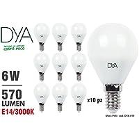 SET di 10 LAMPADINE LED SFERA G45 LED, 6W, 570Lumen, Attacco E14, LUCE CALDA 3000K°