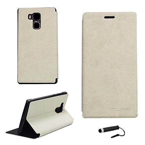 Tasche für Vernee Apollo Lite Hülle, Ycloud PU Ledertasche Metal Smartphone Flip Cover Case Handyhülle mit Stand Function Weiß