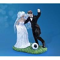 Hochzeits - Deko - Figur sportliches Brautpaar Torten- oder Tischdeko (Fussball spielendes Brautpaar)