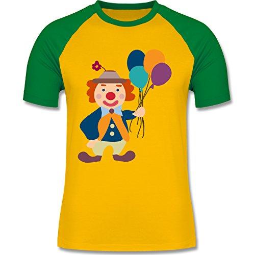 Karneval & Fasching - Clown Luftballons - zweifarbiges Baseballshirt für Männer Gelb/Grün