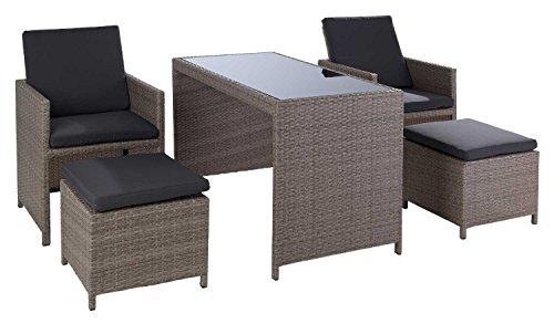 Loungegruppe Sitzgruppe Gartengruppe 5-tlg BELA | Grau | Metall-Kunststoffgeflecht | inkl Kissen