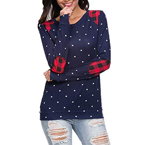 ❤️ Sudadera Mujer Punto Impresa, Casual de Mujer de Manga Larga Lunares Sueltos Pullover Camisetas Blusa Tops Absolute