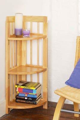Natural Origins 3 Tier Wooden Folding Corner Shelves by PRIME FURNISHING