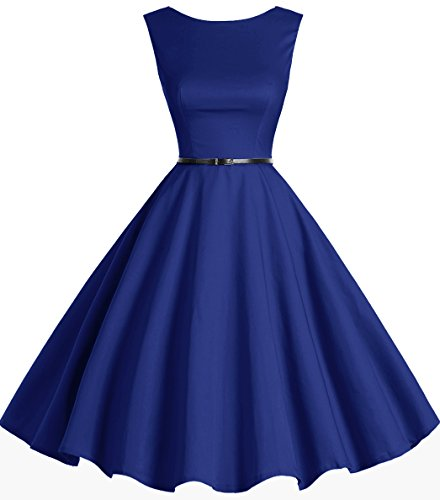 Bbonlinedress 50s Retro Schwingen Vintage Rockabilly kleid Faltenrock RoyalBlue M (Cocktail-abend-kleid)