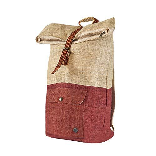 100 % Hanf Rucksack von virblatt, aus Naturhanf und braun gefärbtem Hanf, verziert mit handgefertigten Stickereien - Klassisch -