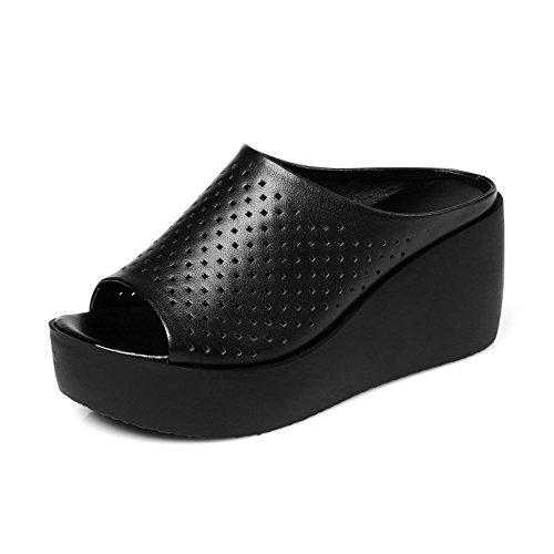 TMKOO& Fulmine lotto di focaccina sandali fondo pesante e pantofole femmina pendenza tunnel cavità con i pattini di cuoio impermeabili Nero
