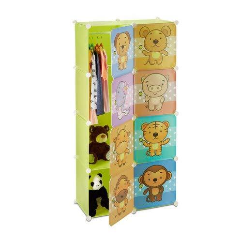 Relaxdays Kinderregal mit Tiermotiv, Kunststoff Steckregal m. Türen, Kinderzimmer Kleiderschrank m. Kleiderstange, bunt -